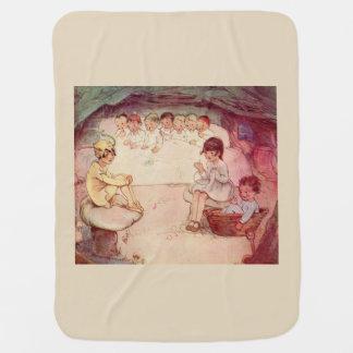 Peter Pan on mushroom Wendy Sewing Lost Boys beige Pramblankets