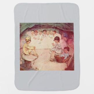 Peter Pan on mushroom Wendy Sewing Lost Boys blue Pramblanket