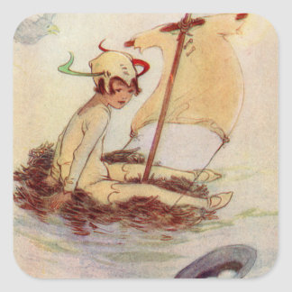 Peter Pan on nest raft Square Sticker