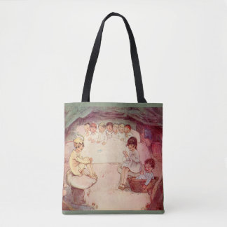 Peter Pan Wendy Lost Boys mushroom cave book pic Tote Bag