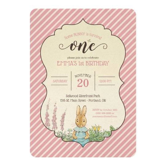 Peter Rabbit Baby Girls First Birthday Invitation Zazzle