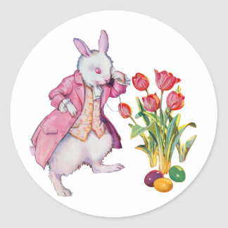 Peter Rabbit Inspects the Easter Eggs Round Sticker