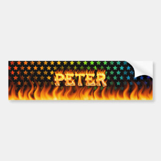 Peter real fire and flames bumper sticker design