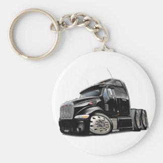 Peterbilt Black Truck Basic Round Button Key Ring