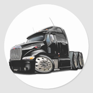 Peterbilt Black Truck Round Sticker