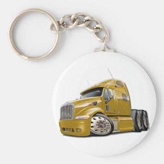 Peterbilt Gold Truck Basic Round Button Key Ring