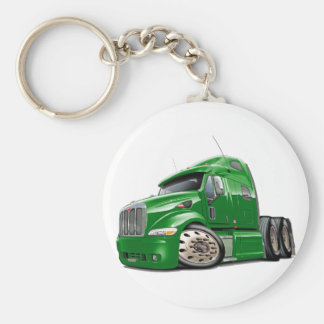 Peterbilt Green Truck Basic Round Button Key Ring