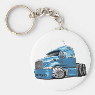 Peterbilt Lt Blue Truck Basic Round Button Key Ring