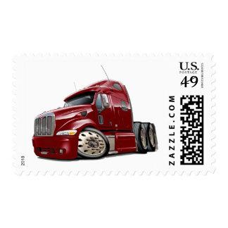 Peterbilt Maroon Truck Postage Stamp