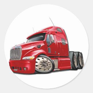 Peterbilt Red Truck Round Sticker