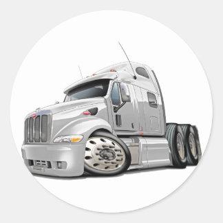 Peterbilt White Truck Round Sticker