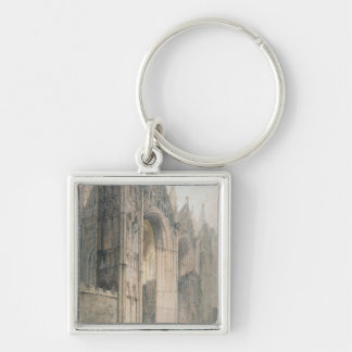 Peterborough Cathedral (w/c on paper) Silver-Colored Square Key Ring