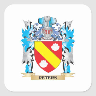 Peters Coat of Arms - Family Crest Square Stickers