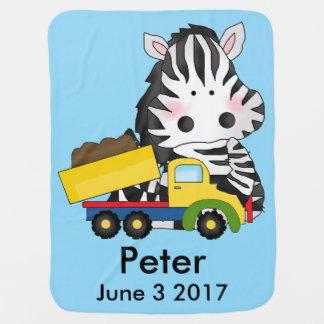 Peter's Personalized Zebra Baby Blanket