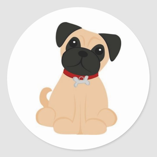Peticular Fashions - Pug Round Sticker