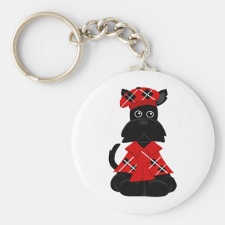 PeticularFashions.com Scottie Basic Round Button Key Ring