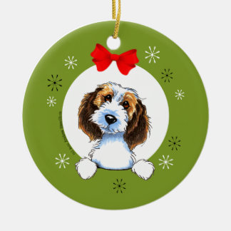 Petit Basset Griffon Vendeen Christmas Classic Round Ceramic Decoration