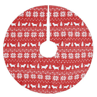 Petit Basset Griffon Vendeen Christmas Pattern Red Brushed Polyester Tree Skirt