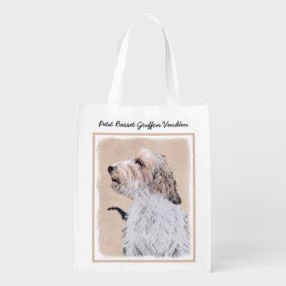 Petit Basset Griffon Vendéen Painting - Dog Art Reusable Grocery Bag
