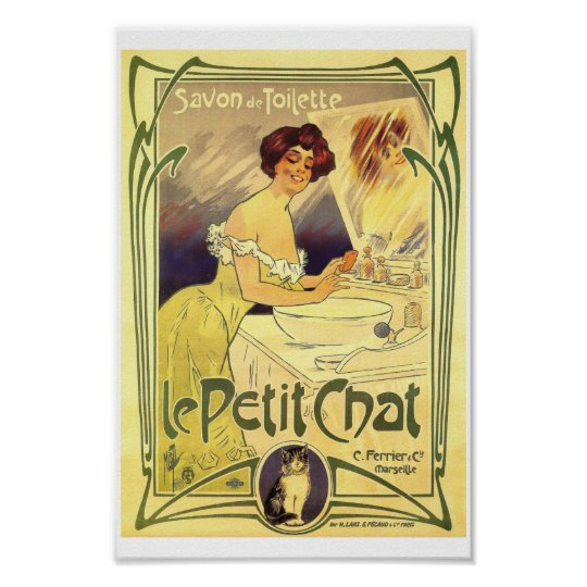 Petit chat French vintage soap label ad Lady