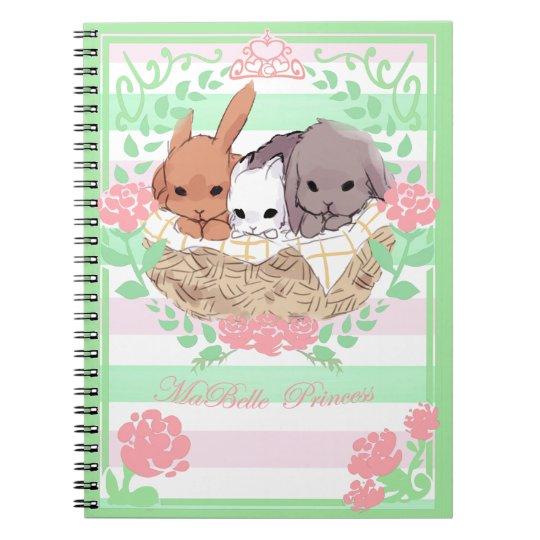 petit trio Bunnies notebook pink/green