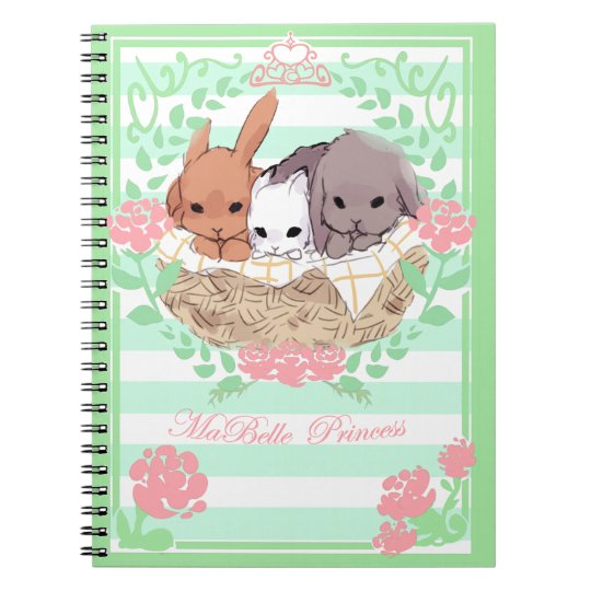 petit trio Bunnies notebook white/green