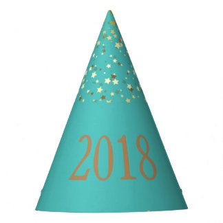 Petite Golden Stars 2018 New Years Hat-Turquoise Party Hat