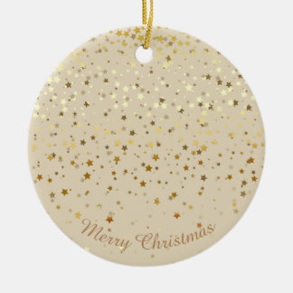 Petite Golden Stars Christmas Ornament-Beige Christmas Ornament