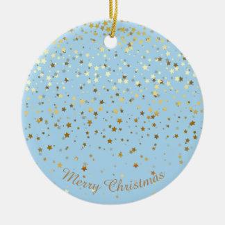 Petite Golden Stars Christmas Ornament-Blue Christmas Ornament
