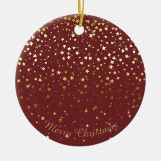 Petite Golden Stars Christmas Ornament-Burgandy Christmas Ornament