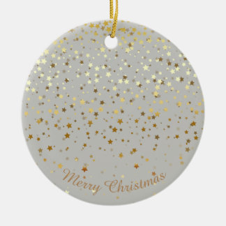 Petite Golden Stars Christmas Ornament-Grey Christmas Ornament