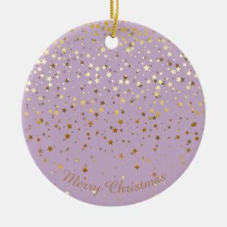 Petite Golden Stars Christmas Ornament-Lavender Christmas Ornament
