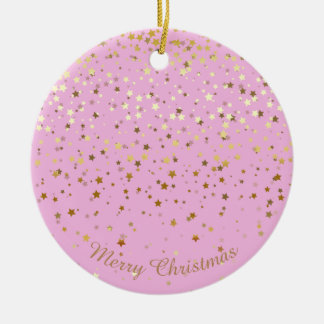Petite Golden Stars Christmas Ornament-Pink Christmas Ornament
