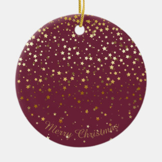 Petite Golden Stars Christmas Ornament-Plum Christmas Ornament