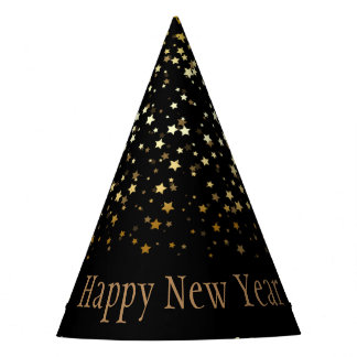 Petite Golden Stars Happy New Year Hat-Black Party Hat