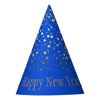 Petite Golden Stars Happy New Year Hat- Blue Party Hat