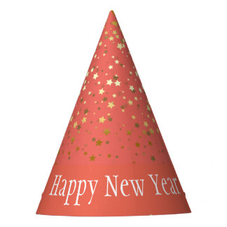 Petite Golden Stars Happy New Year Hat-Coral Party Hat