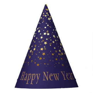Petite Golden Stars Happy New Year Hat-Purple Party Hat