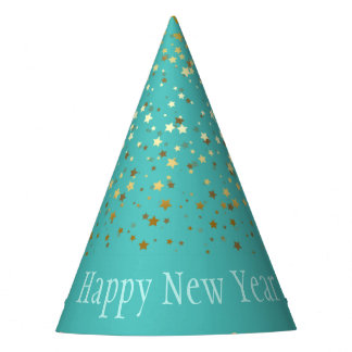 Petite Golden Stars Happy New Year Hat-Turquoise Party Hat