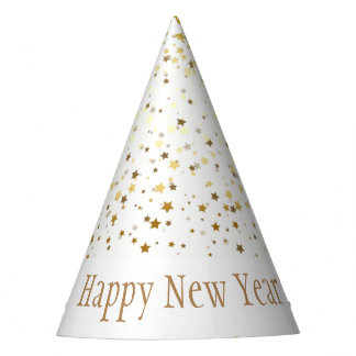 Petite Golden Stars Happy New Year Hat-White Party Hat