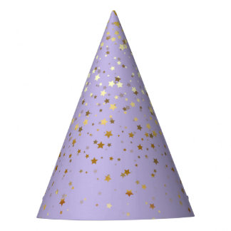 Petite Golden Stars Party Hat-Lavender Party Hat