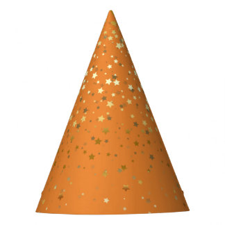 Petite Golden Stars Party Hat-Orange Party Hat