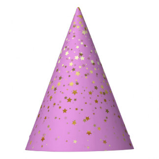 Petite Golden Stars Party Hat-Orchid Pink Party Hat