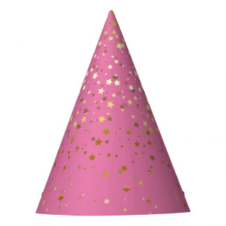Petite Golden Stars Party Hat-Strawberry Pink Party Hat