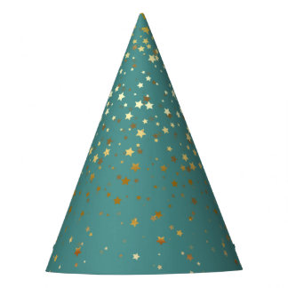 Petite Golden Stars Party Hat-Teal Party Hat