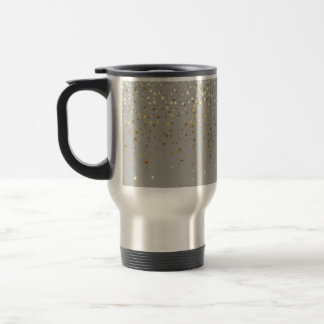 Petite Golden Stars Travel Coffee Mug-Grey Travel Mug