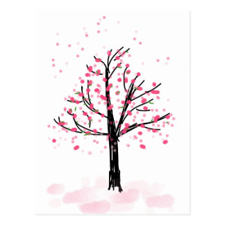 Petite Pink Cherry Tree - Hand Drawn Sketch Postcard