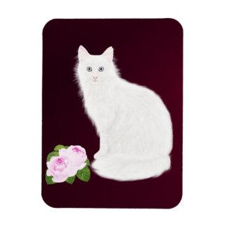"""Petite Rose """"White Cat"""" , Magnet"""