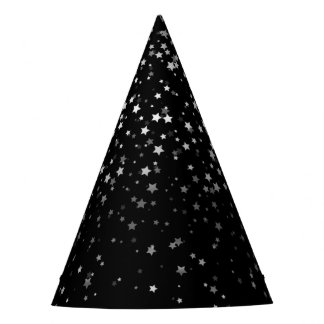 Petite Silver-Gray Stars Party Hat-Black Party Hat