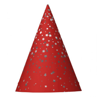 Petite Silver-Gray Stars Party Hat-Red Party Hat
